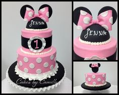 Minnie Mouse Birthday Cake, Pink and white polka dot with matching smash cake