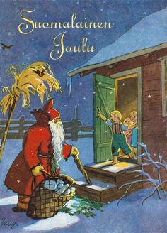 "Martta Wendelin--""Finnish Christmas"" Norwegian Christmas, Childrens Christmas, Scandinavian Christmas, Cozy Christmas, Merry Christmas And Happy New Year, Christmas Past, Christmas Angels, Vintage Christmas Cards, Xmas Cards"