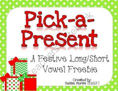 Pick-a-Present Long/short vowel freebie from Susan Moran TGIF on TeachersNotebook.com (8 pages)