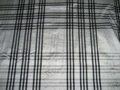 SILK Dupioni FABRIC superb white / black plaids* DUPC55