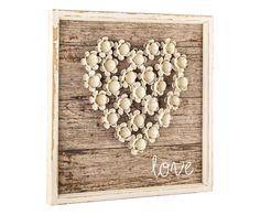 Targhetta in legno di pino Love bianco/naturale, 41x41x4 cm   Dalani Home &…