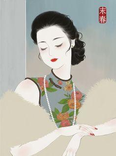 art for art's sake — by 末春 Illustration Tumblr, Makeup Illustration, Geisha Art, Japan Painting, Pretty Anime Girl, Beautiful Fantasy Art, China Art, Art Graphique, Art For Art Sake