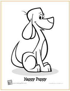 Free Printable Cartoon Character Puppy Coloring Page