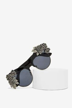 Black Silver Rose Sunglasses