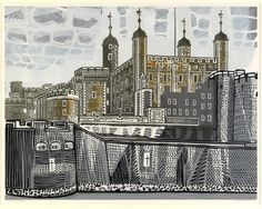 Edward Bawden CBE RA ''Tower of London'' Signed, inscribed and numbered A/P, linocut, by Artist's Resale Rights/Droit de Suite may apply to this lot, please refer to our Terms of Business See illustration - Price Estimate: £ Tower Of London, London Art, London Illustration, Illustration Art, Design Art Drawing, Ligne Claire, Royal College Of Art, Wood Engraving, Linocut Prints