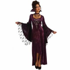 Womens Halloween Costume Violet Vamp Adult Classic Colar Vampire Fancy Dress M for sale online Vampire Fancy Dress, Adult Fancy Dress, Halloween Costumes For Kids, Adult Halloween, Halloween Ideas, Halloween 2013, Vampire Costumes, Violet Dresses, Bell Sleeve Dress
