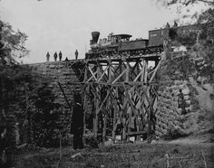 """photos of civil war soldiers   86. The engine """"Firefly"""" on a trestle of the Orange andAlexandria ..."""