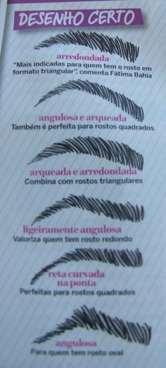 Tipos de Design de sobrancelhas