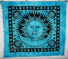 Sun Hippie Tapestry, Turquoise Sun Moon Hippie Tapestry, Indian Bedspread Throw Hippie Wall Hanging, Bohemian Cotton Coverlet Ethnic Decor by Sparshh on Etsy Sun And Moon Tapestry, Tapestry Beach, Indian Tapestry, Mandala Tapestry, Tie Dye Tapestry, Tapestry Bedding, Tapestry Wall Hanging, Handmade Bed Sheets, Cool Tapestries