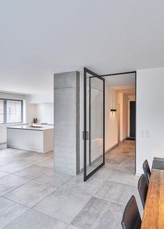 modern glass pivot door offset axis without built-in floor fixtures Home Door Design, Sliding Door Design, Modern Sliding Doors, Door Design Interior, Painted Interior Doors, Front Door Design, Glass Front Door, Glass Door, Unique Garage Doors