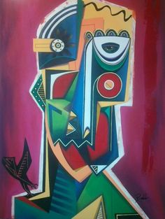 Artist : Pablo M. / Title : Máscara con Ave / Dimensions : 90 x 120 cms / Price : MXN $25,000 / Status : SOLD / Technique : Mixed on Canvas / Year : 2014