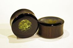 """Ebony areng (palm) wood plugs earrings in 1"""" 25mm have REAL peridot chips embedded on the inside. Handmade and beautiful August birthstones would make wonderful wedding jewelry!"""