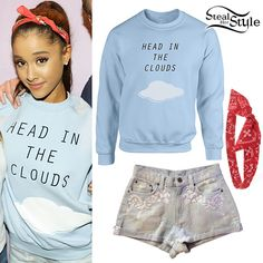 Ariana Grande met with fans at her Honeymoon Tour concert in Stockholm wearing the Ariana Grande Head in the Clouds Crewneck ($60.00) from her own merchandise store with her CarMar Denim Shorts (not available online) and a head scarf similar to the Forever 21 Bandana Print Bow Headwrap ($3.90).