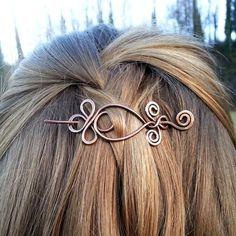Barrette à cheveux celte pin Boho cheveux barrette cheveux cuivre rustique porte châle pin Womens accessoires femmes cadeau cheveux barrette en métal