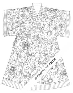 Printable Coloring Page Robe of Flowers by emerlyearts on Etsy