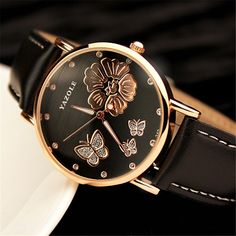 2017 New montres femme Fashion Brand Women Wristwatches Butterfly Flower Bling Genuine Leather Quartz-Watch Wedding Wrist Watch  #Affiliate