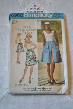 Vintage Simplicity 6968 Pattern Misses Top Skirt Shorts Size 16 DIY Sewing Crafts PanchosPorch Simple Blouse Pattern, Blouse Patterns, Sewing Hacks, Sewing Crafts, Sewing Tips, Types Of Hands, Herringbone Stitch, So Creative, Blanket Stitch