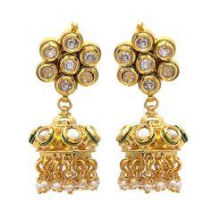 Gorgeous Kundan Meena Earrings with Jhumki #wedding #weddingjewellery #fashion #fashionjewellery #earrings #jhumki #jewellery