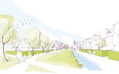 3rd Prize: Perspektive Grüner Korridor, © QUERFELDEINS Landschaft | Städtebau | Architektur