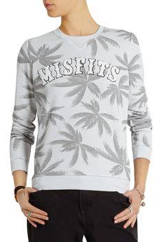 ZOE KARSSEN MISFITS SWEATSHIRT $145 Palm Tree Print Gray Pullover NWT S Top #ZoeKarssen #PulloverSweatshirt #Any