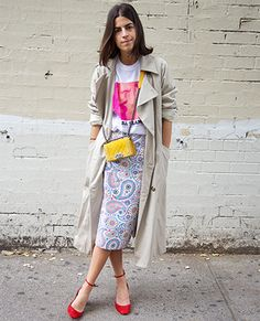 Tone down a kooky, colorful outfit with a quietly chic trench.: Lucky Magazine