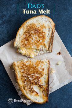 Dad's Grilled Tuna Melt Sandwiches Best Tuna Melt Sandwich or Tuna Grilled Cheese Sandwich Recipe Tuna Melt Sandwich, Grill Cheese Sandwich Recipes, Tuna Melts, Sandwich Board, Sandwich Ideas, Delicious Sandwiches, Wrap Sandwiches, Kitchen Recipes, Cooking Recipes