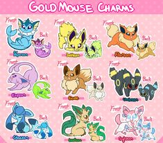 """goldmouse: """" GoldMouse Charm Pre-orders ARE NOW CLOSED GoldMouse charms are going acrylic! They'll be clear acrylic charms and double sided with the shinies on the back. We'll be starting with the eeveelutions first! Cute Pokemon Wallpaper, Cute Wallpaper Backgrounds, Cute Wallpapers, Pokemon Dragon, Pokemon Fan Art, Pokemon Eevee Evolutions, Clear Acrylic, Acrylic Charms, Undertale Drawings"""
