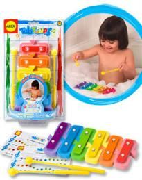 A great way to encourage language with a musical learner. Washing songs and identification of body parts would be great ideas to go along with this music smart activity. Rainbow Theme, Rainbow Colors, Rainbow Toys, Music For Toddlers, Toddler Music, Bathtub Walls, Alex Toys, Baby Bath Toys, Baby Games