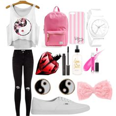 Back to school outfit for middle school #4 by shamya2003 on Polyvore featuring Vans, Herschel Supply Co., Accessorize, Nixon, Victoria's Secret and Laura Mercier
