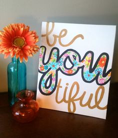 BeYOUtiful Canvas Painting by hannahweison on Etsy Cute Crafts, Crafts To Do, Creative Crafts, Arts And Crafts, Diy Crafts, Do It Yourself Organization, Craft Projects, Projects To Try, Craft Ideas