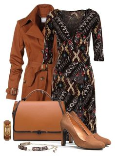 Office outfit: Brown by downtownblues on Polyvore featuring Universal Genève and Etcetera