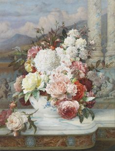 'Roses on a Marble Ledge' William Jabez MUCKLEY (1829-1905). A veritable masterpiece in watercolour. You can't get better than this. The craftsmanship is exemplary and the condition perfect. Signed & dated 1894. Offered by John Robertson Fine Paintings at The Edenbridge Galleries, Kent. www.edenbridgegalleries.com