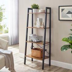 Williston Forge | Wayfair.ca Ladder Shelf Decor, Ladder Bookshelf, Shelving Decor, Bathroom Ladder Shelf, Etagere Bookcase, Industrial, Open Shelving, Hallway Shelving, Wood Shelves