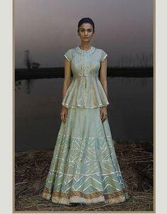 Indian designer light green lehenga choli for wedding outfits. For order whatsapp us on wedding outfits wedding dress wedding dresses lengha lehnga sabyasachi manish malhotra Peplum Top Outfits, Peplum Jacket, Peplum Blouse, Peplum Tops, Long Blouse, Crop Tops, Indian Designer Outfits, Designer Dresses, Pakistani Outfits