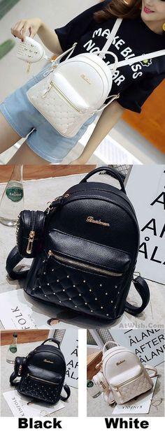 Mini Black White Lady Bag Snap Rivets Mesh Lingge PU Backpack for big sale! #rivet #backpack #bag #black #PU #school #college