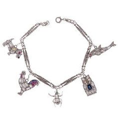 Art Deco Diamond Platinum Animal-Themed Charm Bracelet
