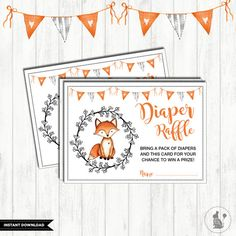 FOX DIAPER Raffle Printable. Woodland Baby Shower. Forest Raffle Ticket. Woodland Animal Baby Insert Card. Rustic. Fox Baby Shower.