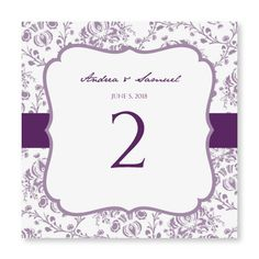 INSTANT DOWNLOAD - Wedding Table Number Card Template - Victorian Damask (Purple) Foldover - Microsoft Word Format