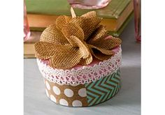 Mother's Day Gift Box made with paper scraps, Mod Podge and burlap flowers.
