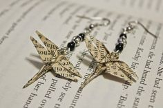 Vintage Recycled Book Paper Origami Dragonfly by gavcanning, $20.00