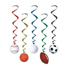 Party Supplies | Sports Party Decorations | Sports Whirls...Throw a sports party to remember and decorate with these Sports Whirls! Hang them from the ceiling so everyone can look up and be amazed by all the different sports icons.