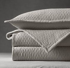 A blend of linen, sourced from the south of France, and pure cotton creates a soft and sumptuous matte finish. ITALIAN LINEN & COTTON PILLOW SHAMs (Pillows not included). by Restoration Hardware. Euro Pillow Shams, Cotton Pillow, King Comforter, Bedding, Linen Bedroom, Master Bedroom, Vintage Tablecloths, Restoration Hardware, Pillows