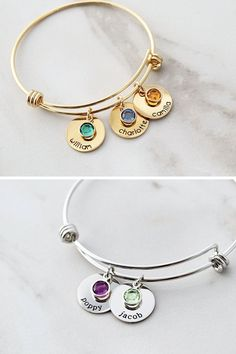 Mom will love this sentimental and stylish Mother's Day gift. Gold bangle bracelet is customized with the name and birthstone for every child or grandchild! These bracelets make the perfect gift for new moms, grandmothers, and aunts who want to keep those little ones close. You choose the personalization for a one-of-a-kind gift any mom will cherish Delicate Gold Necklace, Gold Bar Necklace, Monogram Necklace, Dainty Jewelry, Name Bracelet, Bracelet Sizes, Bangle Bracelet, Bracelet Making, Bracelets