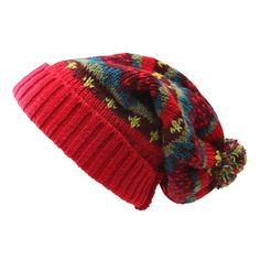 Red Patterned Slouch Pom Beanie
