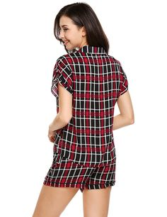 923b22d7b6b2 Brand Dot Sleepwear Fashion Women Short Sleeve Button Down Plaid Pajama Set  Summer Casual Check Pocket Pajamas