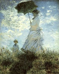 "Claude Monet (1840-1926) ""The Walk. Lady with a Parasol"" (1875) National Gallery of Art, Washington DC, USA / ""My only merit lies in having painted directly in front of nature, seeking to render my impressions of the most fleeting effects."" C.Monet"