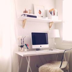 Grey+scout - small corner space - would work in our little place! I like the gold touches on the shelves for a small home office Workspace Inspiration, Home Decor Inspiration, My Home Design, House Design, My Living Room, Living Spaces, Desks For Small Spaces, Home Office Space, New Room