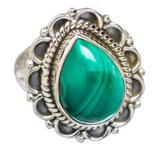 Malachite 925 Sterling Silver Ring Size 6.75 RING707366