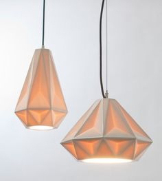 Aspect Pendants  Made of translucent porcelain, the pendant lights are faceted making the fixture give a soft glow through their almost diamond like shape.