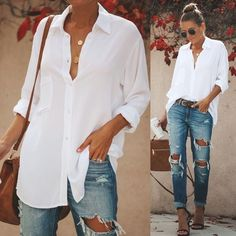 White Blouse Outfit, White Shirt Outfits, Outfit Jeans, White Shirts, Button Down Shirt Outfit Casual, Casual Shirts, White Blouses, White Button Down Shirt, Mode Outfits